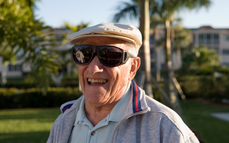 Elderly Gentleman Wearing Glasses after Surgery for his Cataracts